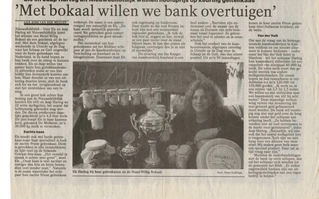 Els en Jaap Hartog uit Nieuwebildtdijk winnen hoofdprijs op keuring geitenkaas